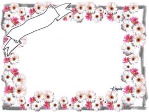 大人可愛いマーガレットの写真のフレームのフリー素材
