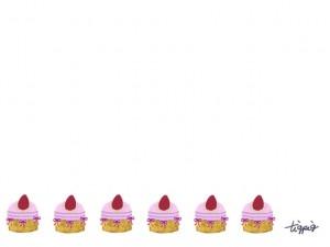 フェアリー系の色遣いがガーリーで大人可愛いイチゴケーキのラインのフリー素材