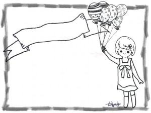 フリー素材:大人可愛い風船とメルヘンな女の子のモノトーンのフレーム