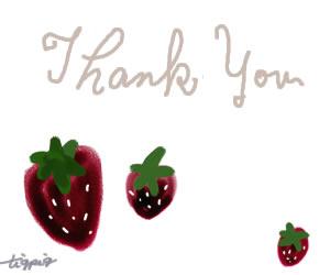 ネットショップ制作に使える北欧風のイチゴのイラストと「Thank you」の手書き文字のフリー素材