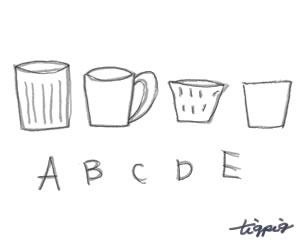 HP制作に使える淡いグレーの北欧雑貨風マグカップとA,B,C,D,Eの手書き文字のフリー素材