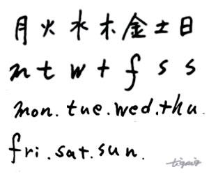 大人可愛いHP制作に使えるモノトーンのインク風の一週間の曜日の手書き文字のフリー素材