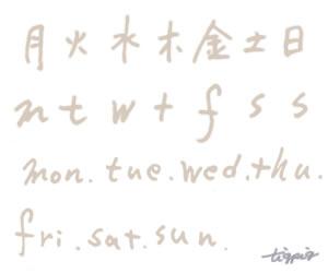 大人可愛いHP制作に使える淡いベージュのインク風の一週間の曜日の手書き文字のフリー素材