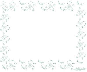 大人可愛いHP制作に使えるミントグリーンの色鉛風の小花のフレームのフリー素材