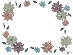 秋のHP制作に使えるくすんだ色味が大人可愛いレトロな花いっぱいのフレームのフリー素材