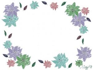夏のHP制作に使える涼しげな色味が大人可愛いレトロな花いっぱいのフレームのフリー素材