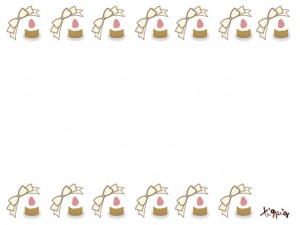 スイーツのHP制作に使えるイチゴケーキとリボンのイラストいっぱいの飾り罫のフリー素材