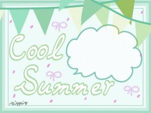 夏のHP制作に使えるミントグリーンの旗のイラストとフキダシとCool Summerの手書き文字のフリー素材