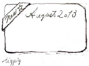 8月のHP制作に使える鉛筆描きのNewとAugust 2013 の手書き文字とNewのリボンのフレームのフリー素材