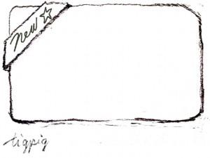 大人可愛いHP制作に使える鉛筆描きのNewのリボンのフレームのフリー素材