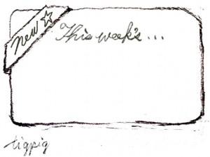 HP制作の新着のバナーに使える鉛筆描きのThis week's...の手書き文字とNewのリボンのフレームのフリー素材