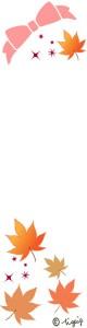 秋のネットショップのフリー素材:大人可愛い紅葉とリボンとキラキラのイラストのウェブ制作のフリー素材;160×600pix