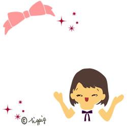アイコンに使える大人可愛い笑顔の女性とピンクのりぼんとキラキラのイラスト無料素材:125×125pix