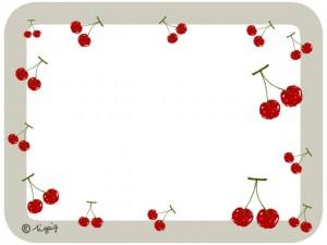 サクランボのイラストと角丸の枠のフレーム:640×480pix