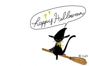 ハロウィンのHP制作に使える大人可愛い黒猫と手書き文字のフキダシのフリー素材:640×480pix