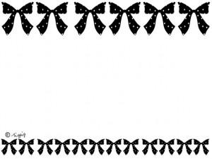 大人可愛いモノトーンのリボンのイラストいっぱいのラインのフレーム