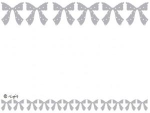 大人可愛いグレーのリボンのイラストいっぱいのラインのフレーム:640×480pix