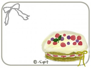 手づくり風のベリーとクリームのケーキのイラストのフリー素材:640×480pix