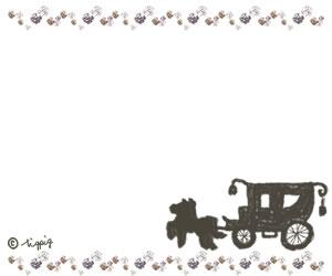 秋のHP制作に使えるブラウンの馬車のイラストとキラキラの大人可愛いフレーム:300×250pix