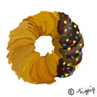 大人可愛いスイーツ(チョコレートドーナツ)のイラストのアイコンのフリー素材:200×200pix