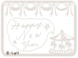 Happy New Yearの手書き文字のフキダシとメリーゴーランドとリボン(淡いベージュ):640×480pix