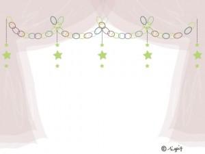 大人可愛い星の輪飾りとブラウンのシフォンの幕のイラストのフレーム:640×480pix