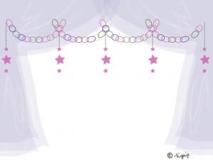 大人可愛いピンクの星の輪飾りと薄紫のシフォンの幕のフレーム:640×480pix