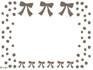 大人可愛いブラウンのリボンとドットのフレームのフリー素材:640×480pix