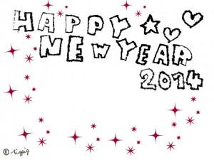 HAPPY NEW YEAR 2014の手描き文字とハートと星とキラキラのフレーム:640×480pix
