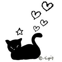 お昼寝の黒猫のモノトーンのイラストのアイコン:200×200pix