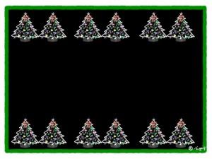 黒い背景が大人可愛いクリスマスツリーいっぱいの飾り罫のフリー素材:640×480pix