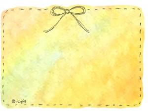 水彩のにじみ(イエロー)の背景とリボンの大人可愛いフレーム:640×480pix
