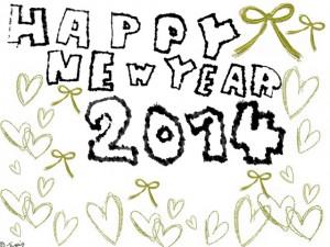HAPPY NEW YEAR 2014の手描き文字とゴールドのリボンとハートいっぱいのフレーム:640×480pix