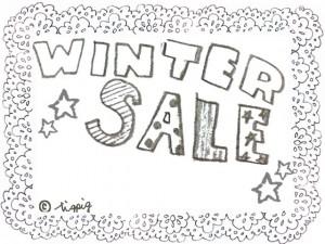 ネットショップ制作に使える「WINTER SALE」の手書き文字とレースのフレーム:640×480pix