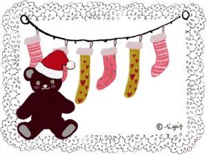 クリスマスの靴下とテディベアのイラストとレースのフレームのフリー素材:640×480pix