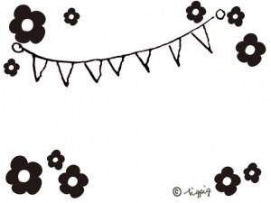 誕生日やパーティのデザインに使えるデイジーと旗のイラスト