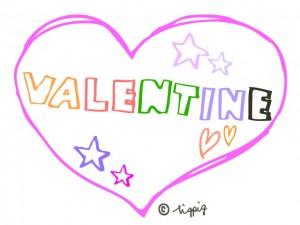 VALENTINEのポップな手書き文字とピンクのハート