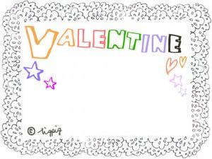 VALENTINEの手描き文字とモノトーンのレースのフレーム