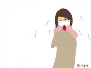 マスクをして咳をする女性(風邪,インフルエンザ)のイラスト:640×480pix