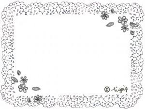 モノトーンのガーリーな小花とレースのフレーム:640×480pix