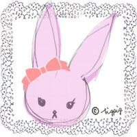 ガーリーなピンクの兎のイラストのアイコン:200×200pix