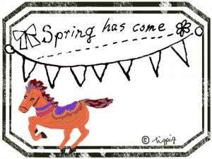 大人可愛い馬とspring has come の手描き文字と旗とラベル風のフレーム:640×480pix