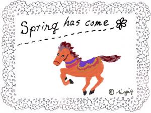大人可愛い手描きのレースと馬のイラストの春のフレーム:640×480pix