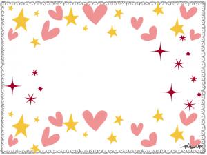 星とハートいっぱいのポップなフレーム:640×480pix