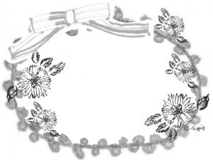 モノトーンの北欧風の花とリボンとレースの大人可愛いフレーム:640×480pix