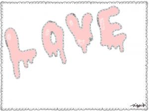 溶けかけのLOVEの手書き文字とレースのフレーム:640×480pix