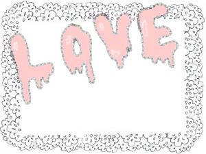 手描き文字LOVEとモノトーンのレースのフレーム:640×480pix