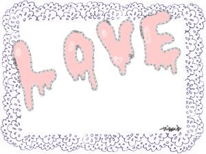 ポップな手描き文字のLOVEと大人可愛いレースのフレーム:640×480pix