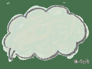 ポップな手描きのふわふわのフキダシ(グリーン):640×480pix