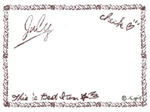 Julyの手描き文字とロープみたいなイラストのフレーム:640×480pix